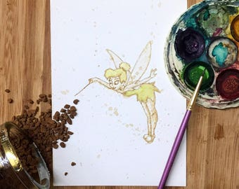 Disney Tinkerbell, Peter Pan, Coffee Art, Painting, Watercolour, Fairy, Cartoon