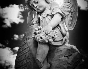 Stone Angel Black and White Photo Print