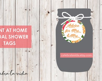 Advice for Mrs. and Mrs. Bridal Shower Tags. Instant Download. Printable Bridal Shower Game. Yellow Flowers. Red and Orange - 02