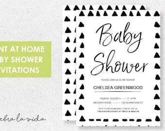 Baby Shower Invitation. Instant Download. Printable Baby Shower Invite. Black and White - 01