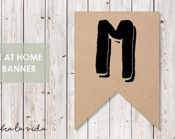 DIY Banner - 'M'. Instant Download. Printable Banner Letters. - 02