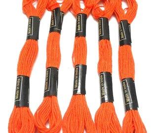 Goelx Skein Embroidery Thread Floss/ Jewelry Making Craft Thread Pack Of 25 Skeins - Orange