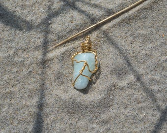 Gold Wire Wrapped Aquamarine Crystal Necklace