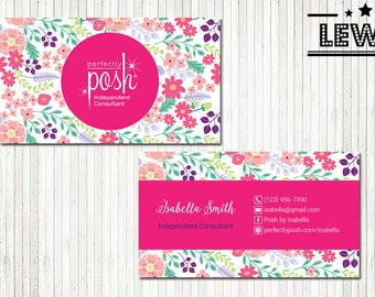 PERSONALIZED Perfectly Posh Business Cards, Perfectly Posh Style Card, Printable Digital Printed, Personalized Cards PH03