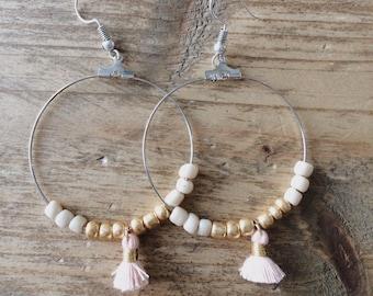 Pink or blue tassel earrings - nikkelvrij