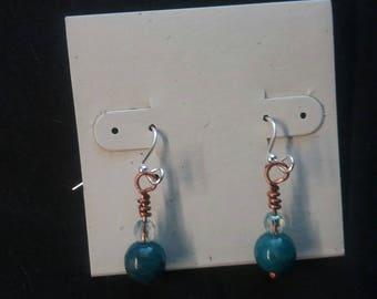 Wire wrapped earrings, handmade,jewelry