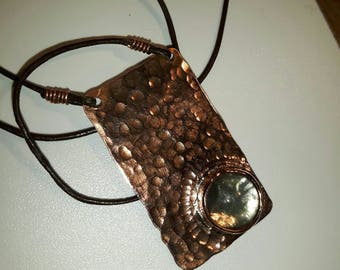 Handmade copper pendant with cabochon gemstone. Made to order - choice of gemstones available