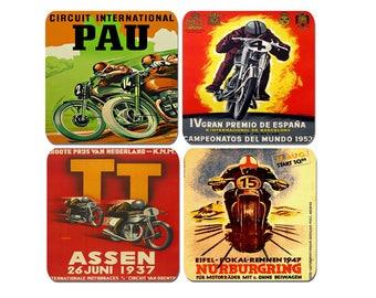 High Quality Cork Motorcycle Grand Prix Vintage Poster Drinks Coasters Set Of 4 . Motorbike Biker Classic Advertising Bike Gift