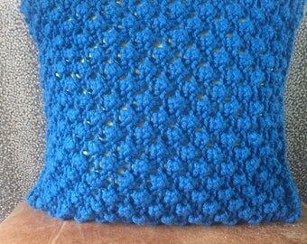 Hand Knitted Blue & Yellow Cushion