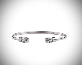 Sterling Silver oval cubic zirconia Torque Bangle