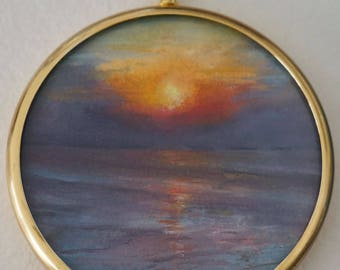 Sunset Painting - Small, Tiny, Original Oil Painting