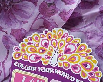Vintage Stunning Retro 1970's JELDI Terylene Curtains Purple Floral Flowers Roses Ready Made