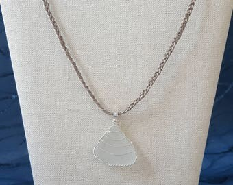 Sea Glass Pendant Necklace with Braided Hemp Chain