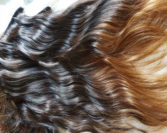 Handmade clip in hair extensions, 20/22 inches, virgin top fading to light ombre