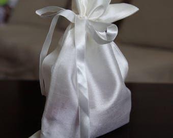 Lingerie Bag - Polyester Lingerie Bag - Bridesmaid Gift - White Drawstring Bag - Bags for Bras - Small Bag - Hand made