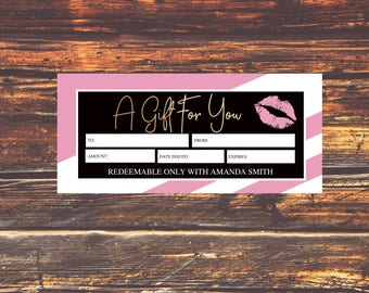 NEW LipSense Gift Certificate, LipSense Gift Cert, LipSense SeneGence, Lip Sense Personalized, LipSense Digital File, LipSense PINK and Gold