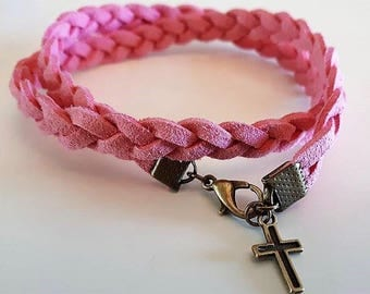 Pink Faux Suede bracelet with charm choice