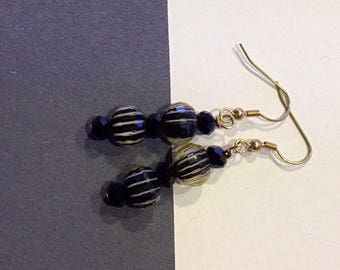 Black & White Striped Earrings