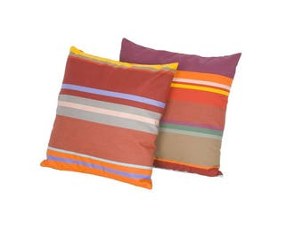 Colorful striped French patio pillow - unique outdoor cushion