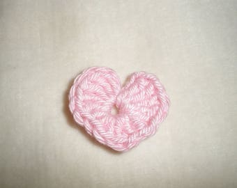Set of six crochet hearts