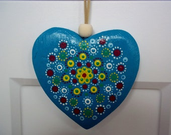 Wooden Mandala Heart - Blue