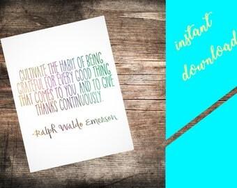 NICU Wall Art- Ralph Waldo Emerson {grateful, gift thanks} |Printable instant download|