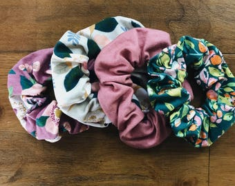 set of 4 coordinating scrunchies