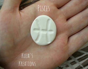 Small Zodiac Sign Stone Pisces Handmade [clay + paint/glitter + gloss]