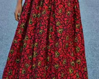 African print maxi skirt, African print, African maxi skirt, wine coloured maxi skirt, Ankara print