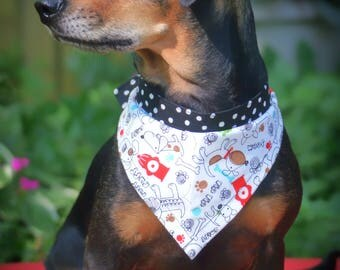 "Dog Bandana - ""A Dog's Life"" pattern - size medium"