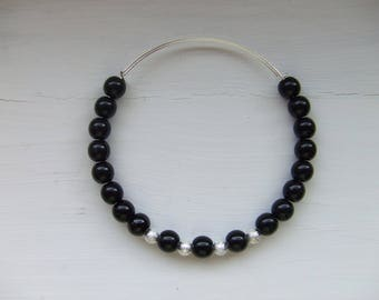 Black Czech and frosted silver bead adjustable bracelet