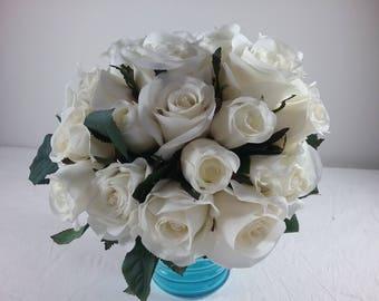 Gorgeous White Rose Wedding Bridal Bouquet or table arrangements