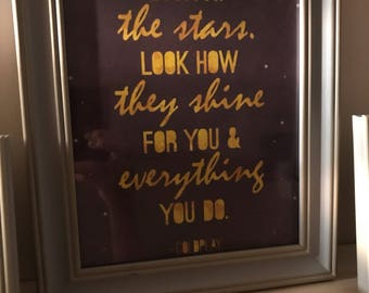 Framed song lyric print