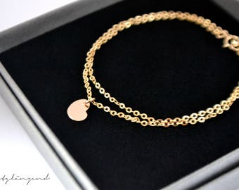 "Gold filled bracelet with heart plate ""XS"""