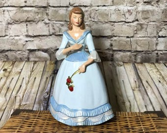 """Vintage Holland Mold 14"""" Tall Victorian Woman Blue Dress Holding Flowers"""