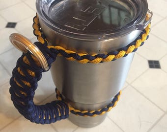 30 oz tumbler paracord handle blue and gold