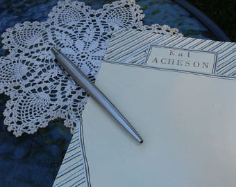 Pinstripes: Personalized Stationary, Hand-Painted on Archival Quality Paper