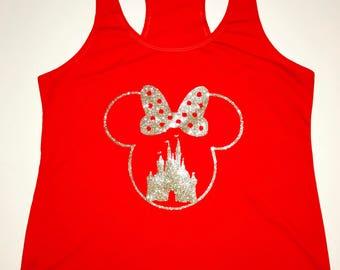 Minnie Castle Disney Razorback Tank- Mini Mouse Disney Tank top-Womens Disney Shirt