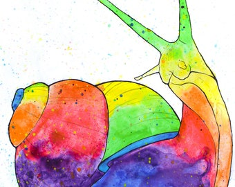 Rainbow Watercolor Print - Snail