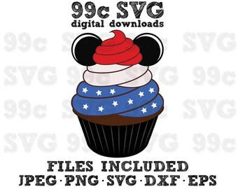 4th of July Mickey Cupcake SVG DXF Png Vector Cut File Cricut Design Silhouette Vinyl Decal Disney Party Stencil Template Heat Transfer Iron