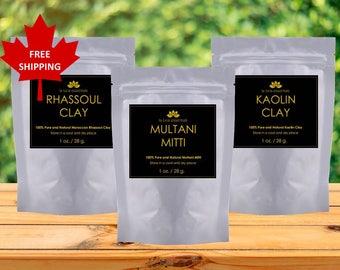 Beauty Bundle - FREE SHIPPING - Rhassoul Clay, Multani Mitti, Kaolin Clay