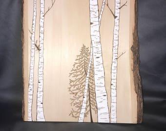 Wood burned Trees
