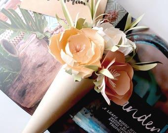 Handmade Paper Flower Cone Bouquet Bride Bridemaid Congrats Wedding Anniversary