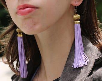 Tassel Earrings, Purple Tassel Earrings, Light Purple Earrings, Dangel Earrings, Statement Earrings, Gift for Her
