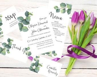 Watercolor Wedding Invitation Suite - Wedding Invitation, Bridal Shower, Menu, RSVP, Place Cards, Thank you