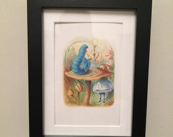 Classic Alice in Wonderland Illustration - framed - Catapillar