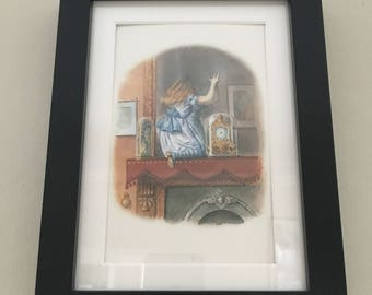 Classic Alice in Wonderland Illustration - framed Postcard - Alice through the looking glass