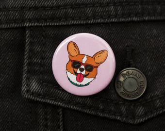 Cool Dog Corgi Badge