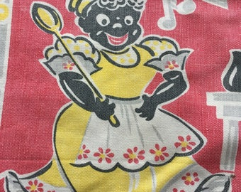 Vintage Mammy and Music linen dish towel