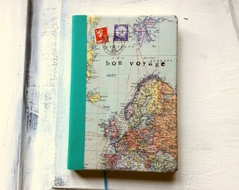 World map travel journal, ruled notebook, bon voyage journal, Europe, turquoise border, quality paper, light weight ideal for travelling